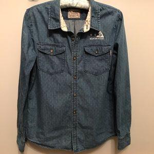 BURTON cotton long sleeve denim boyfriend shirt